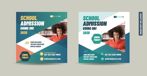 Banner de admisión a la universidad de la escuela y diseño de publicaciones educativas en las redes sociales