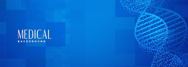 Banner de adn médico azul para trabajos de ciencias de la salud