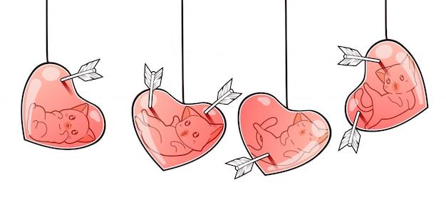 Banner adorable gato dentro del globo del corazón que está perforado con flecha