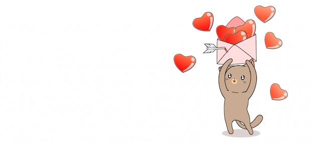 Banner adorable gato tiene carta de corazones