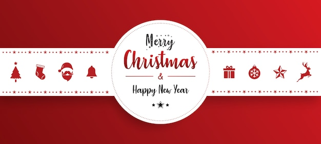Banner de adorno de navidad con fondo rojo