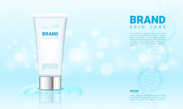 Banner de agua azul y bokeh para cosméticos