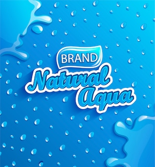 Banner de agua dulce natural con gotas y salpicaduras.