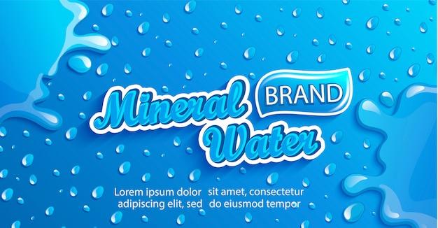 Banner de agua mineral fresca con gotas y salpicaduras.
