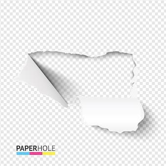 Banner de agujero de papel rasgado con borde rasgado en blanco con piezas de cartón dobladas