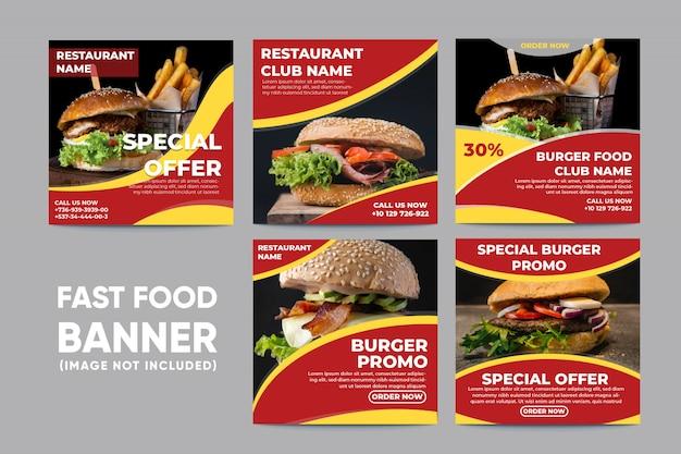 Banner de alimentos para la colección de redes sociales