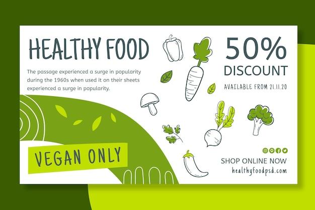 Banner de alimentos saludables y bio