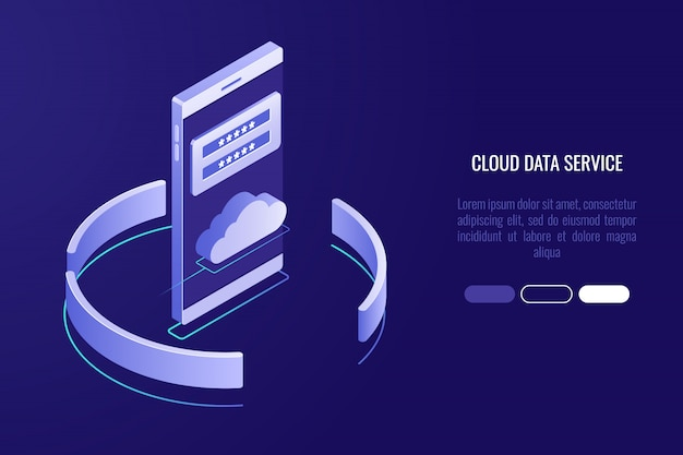 Banner de almacenamiento de datos en la nube, teléfono inteligente con icono de la nube y formulario de autorización