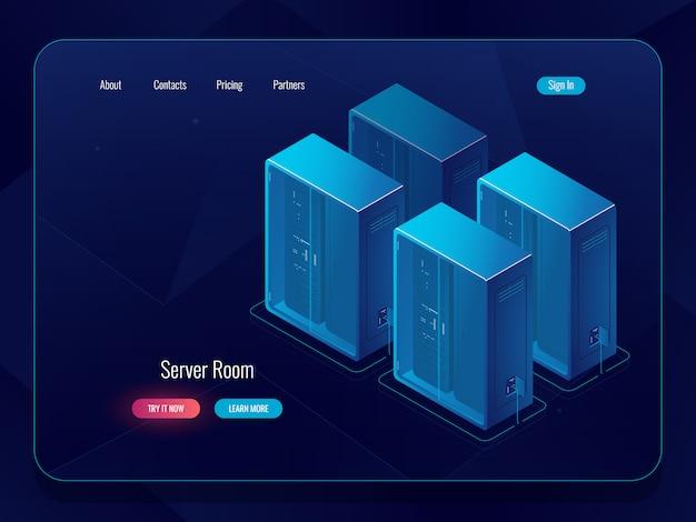 Banner de almacenamiento en la nube de datos, icono de conexión en el almacén de archivos remoto, objeto tecnológico