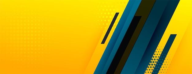 Banner amarillo abstracto con formas geométricas