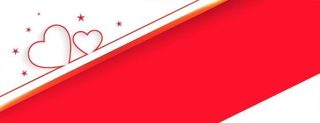 Banner de amor de corazones con diseño de espacio de texto