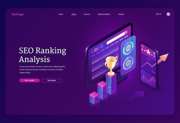 Banner de análisis de ranking seo. analítica digital de optimización de contenidos en buscadores. página de inicio con tablas y gráficos isométricos en la computadora y la pantalla del móvil