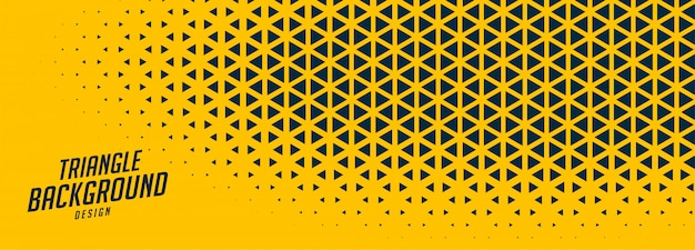 Banner ancho amarillo abstracto con formas triangulares