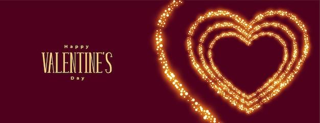 Banner ancho de corazón brillante del día de san valentín
