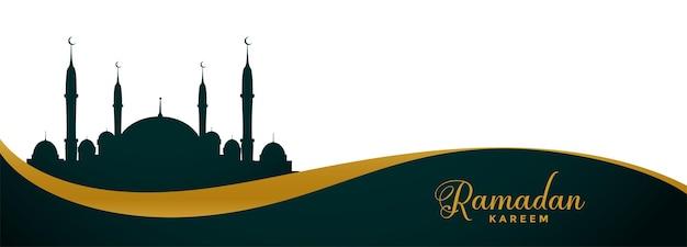 Banner ancho de ramadan kareem con diseño de mezquita
