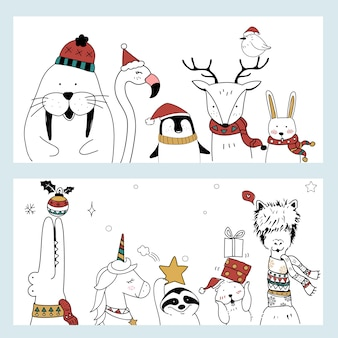 Banner animal de navidad