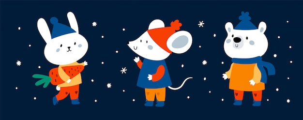 Banner de animales divertidos dibujos animados lindo