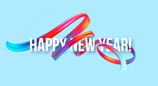 Banner de año nuevo 2019 con un colorido pincel de aceite o pintura acrílica