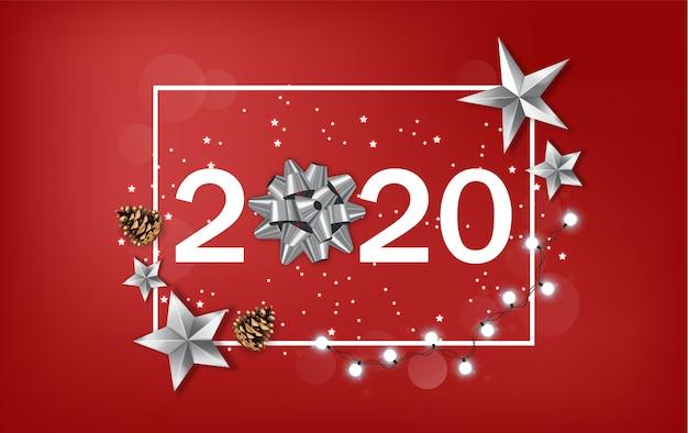 Banner de año nuevo 2020 con brillantes estrellas plateadas y cinta