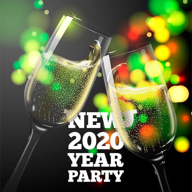 Banner de año nuevo 2020 con copas de champán transparentes sobre fondo brillante