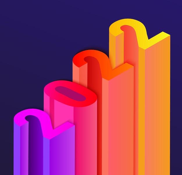 Banner para el año nuevo 2022 en estilo de infografía de escalera, números de diferentes colores con sombra. perfecto para presentaciones, volantes, folletos, carteles, tarjetas de felicitación.ilustración de vector.