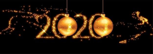 Banner de año nuevo dorado 2020 con destellos voladores