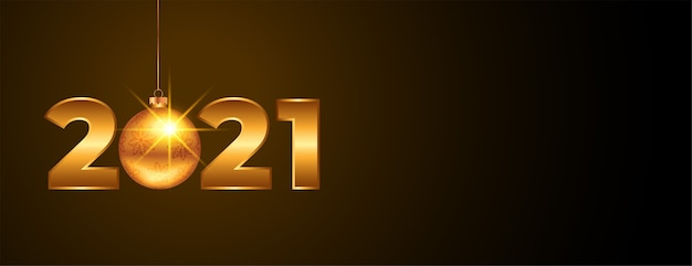 Banner de año nuevo dorado 2021 con bola de navidad