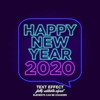 Banner de año nuevo con efecto neón