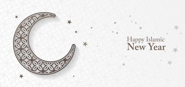 Banner de año nuevo islámico con luna