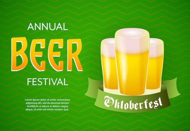 Banner anual del festival de la cerveza con vasos de cerveza y desplazamiento