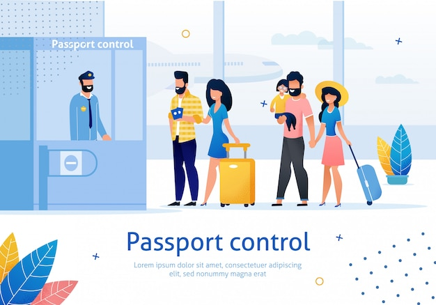 Banner de anuncio plano de control de pasaportes del aeropuerto