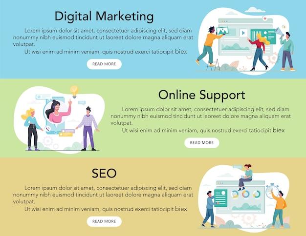 Banner de anuncio de servicio comercial web moderno o encabezado de sitio web. seo y soporte online. publicidad digital. rascacielos de wevsite.