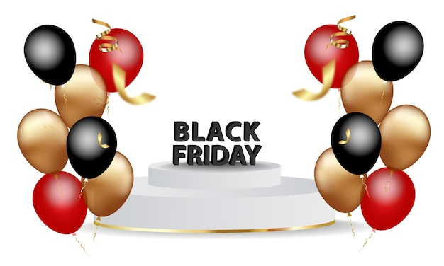 Banner de anuncio de venta de viernes negro con globos brillantes.