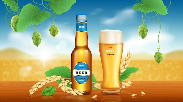 Banner de anuncios de cerveza artesanal de trigo