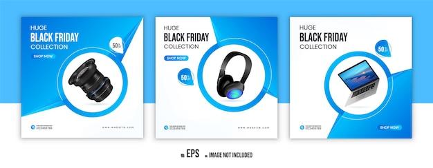 Banner de anuncios de instagram de promoción de productos de black friday o diseño de publicaciones en redes sociales vector premium