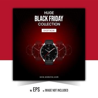 Banner de anuncios de instagram de promoción de productos de black friday smartwatch o publicación en redes sociales vector premium