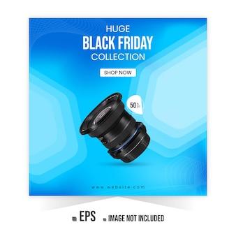 Banner de anuncios de instagram de promoción de productos de cámara de black friday o publicación en redes sociales vector premium