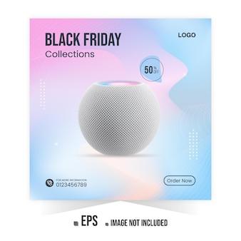 Banner de anuncios de instagram de promoción de productos de música de black friday o publicación en redes sociales vector premium