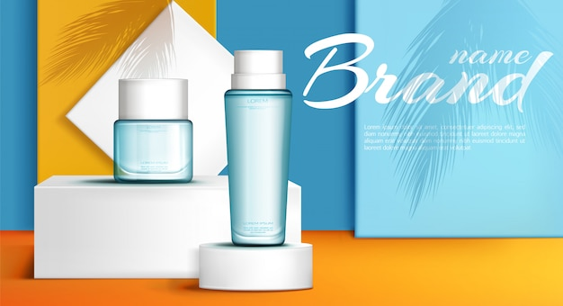 Banner de anuncios de perfume de línea de verano