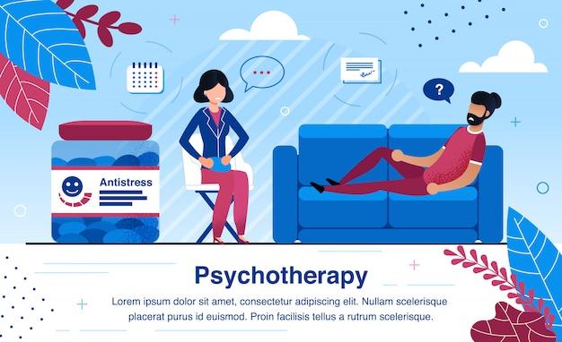Banner de anuncios planos de práctica de psicoterapeuta