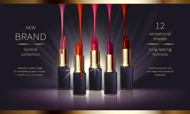 Banner de anuncios de vectores realistas cosméticos con premium