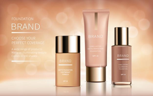 Banner de anuncios de vectores realistas cosméticos