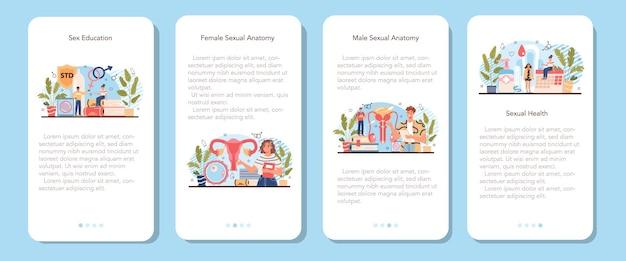 Banner de aplicación móvil de educación sexual establece lección de salud sexual