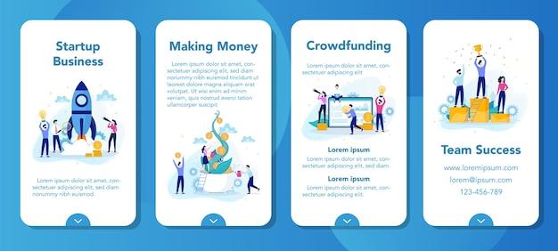 Banner de aplicación móvil de puesta en marcha y desarrollo empresarial. gente de negocios que trabaja para el éxito. liderazgo y trabajo en equipo. mente creativa e innovación.