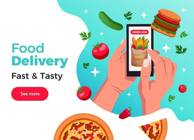 Banner de aplicación de pedido de comida con manos sosteniendo ilustración plana de teléfono inteligente