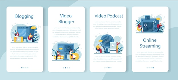 Banner de aplicaciones móviles de video blogger, blogs y podcasting