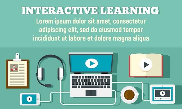 Banner de aprendizaje interactivo, estilo plano.