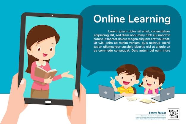 Banner de aprendizaje en línea para niños en casa.