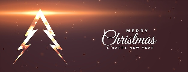 Banner de árbol de feliz navidad brillante con efecto de luz