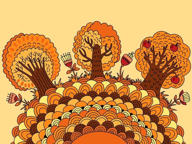 Banner con árboles de otoño, flores y lugar para el texto.